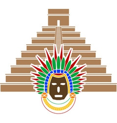 mayan pyramid and mask vector image vector image