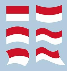 Monaco flag Set of flags of Monaco Republic in vector image vector image