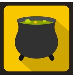 Witch cauldron with green potion icon flat style vector image