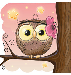 cute owl on a brunch vector image vector image