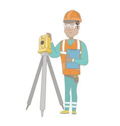 hispanic surveyor builder working with theodolite vector image