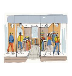 modern interior boutique shopping center mall vector image vector image
