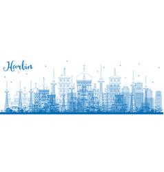 Outline harbin skyline with blue buildings vector
