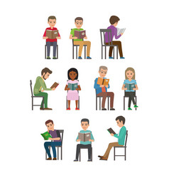 people seating and reading textbook flat vector image