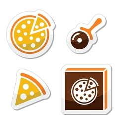 Pizza icons set isolated on white vector image vector image