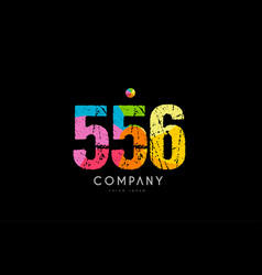 556 number grunge color rainbow numeral digit logo vector image