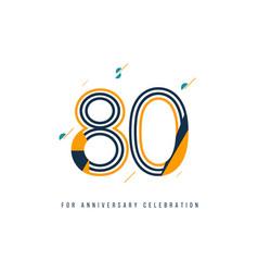 80 year retro anniversary celebration template vector