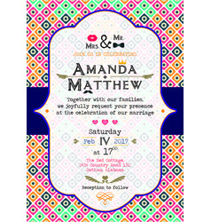 A bright invitation to a wedding in the style of p vector