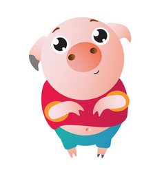 a very cute pig with big eyes asks for something vector image