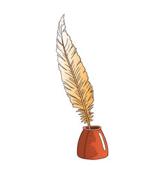 Antique quill pen isolated icon vector