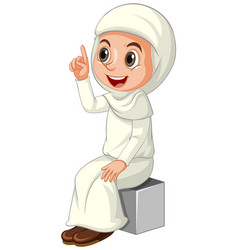 Arab muslim girl in traditional clothing isolated vector