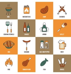 Bbq Line Icons vector image