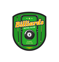 billiard pool club game society icon vector image