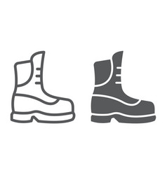 Boot line and glyph icon clothing and footwear vector