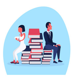 business couple sitting book stack holding coffee vector image