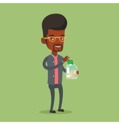 Businessman putting dollar money into glass jar vector