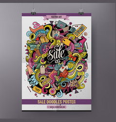 cartoon doodles sale poster vector image