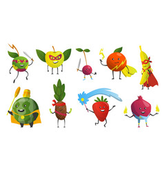cartoon superheroes fruits in masks and capes vector image