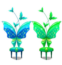 Chairs with butterfly-shaped back isolated vector