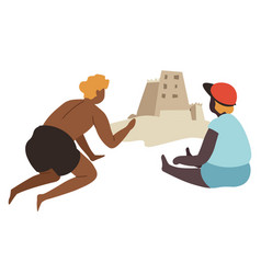 characters building sand castles seaside vector image