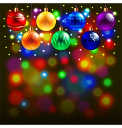 Christmas balls on colorful background vector image