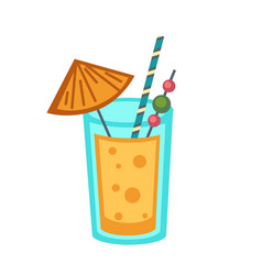 cocktail in glass with straw and small umbrella vector image