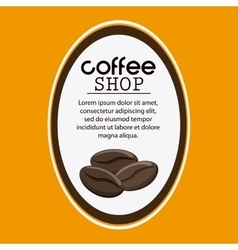 Coffee bean label shop beverage icon vector