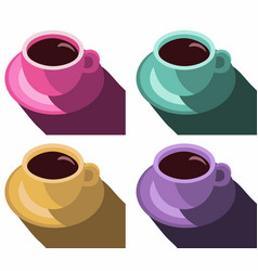 Coffee cups colorful poster set coffee mug vector