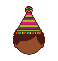 Cute african boy with party hat character icon vector