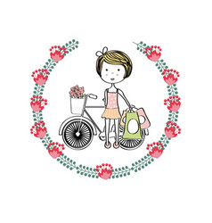cute girl icon vector image