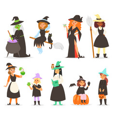 Cute little halloween girl witchs with broom vector