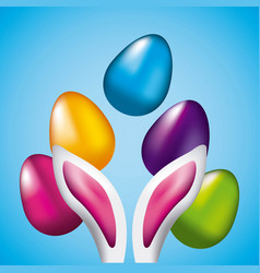 Easter eggs and ears rabbit shining blue vector