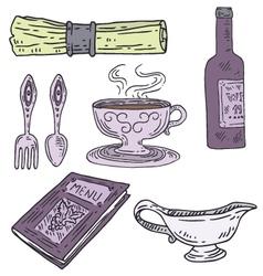 Engraved restaurant set vector