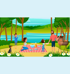 Family having fun on picnic cartoon vector