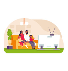 family watching tv cartoon father mother and vector image