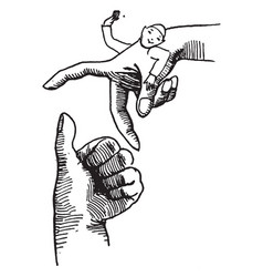 finger man jumping are hand vintage engraving vector image