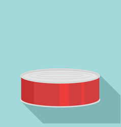 Fish in tomato tin can icon flat style vector