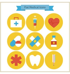 Flat Health and Medicine Icons Set vector image