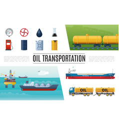 flat oil industry elements set vector image