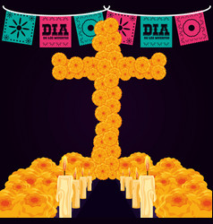 flower cross with candles of day the dead vector image