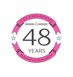 forty eight years anniversary celebration logo vector image
