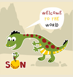 Funny cartoon dinosaurs family vector