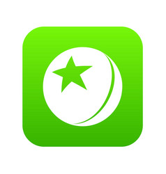glossy star ball icon green vector image