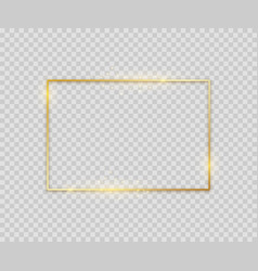 golden square shape shiny luxury border graphic vector image
