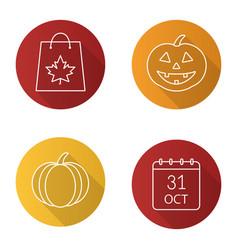 halloween flat linear long shadow icons set vector image