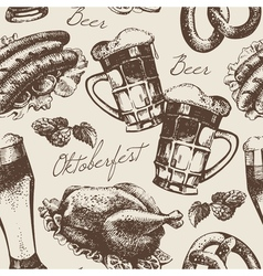 Hand drawn Oktoberfest vintage seamless pattern vector image