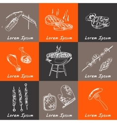 hand drawn set with barbecue tools on black vector image