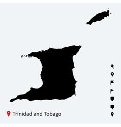 High detailed map of Trinidad and Tobago with pins vector image
