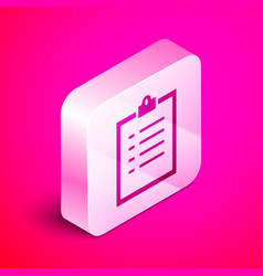 isometric clipboard with checklist icon isolated vector image