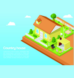 isometric country house and 3d rural landscape vector image